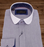 Shelby Brothers collection by Orange Fire Beaumont penny collar overhemd  blue-white -stripe