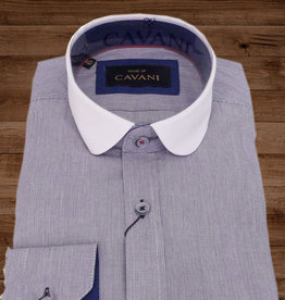 House of Cavani Beaumont penny collar overhemd  blue-white -stripe