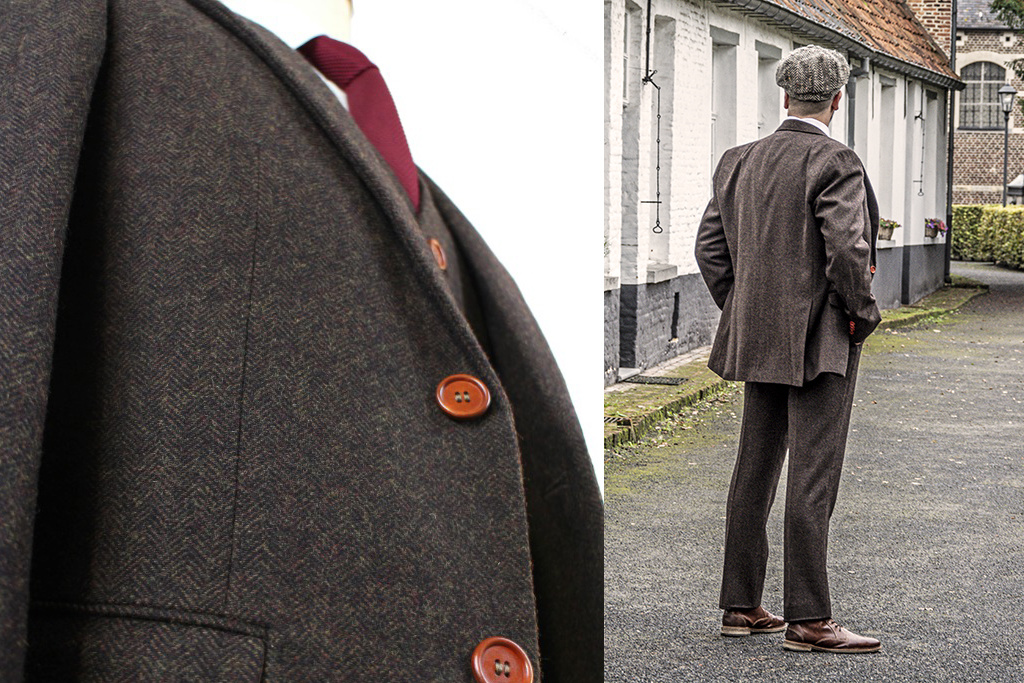 Shelby Brothers collection by Orange Fire 3-delig tweed pak Dark-Brown Herringbone