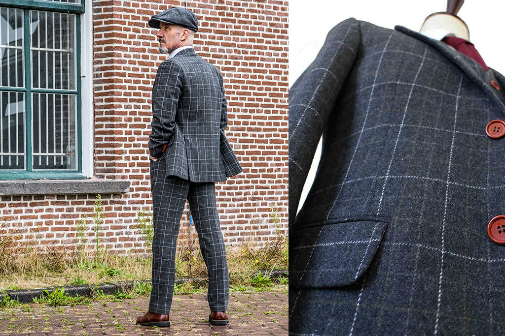 Shelby Brothers collection by Orange Fire 3-delig tweed pak Grey Overcheck Plaid Tweed