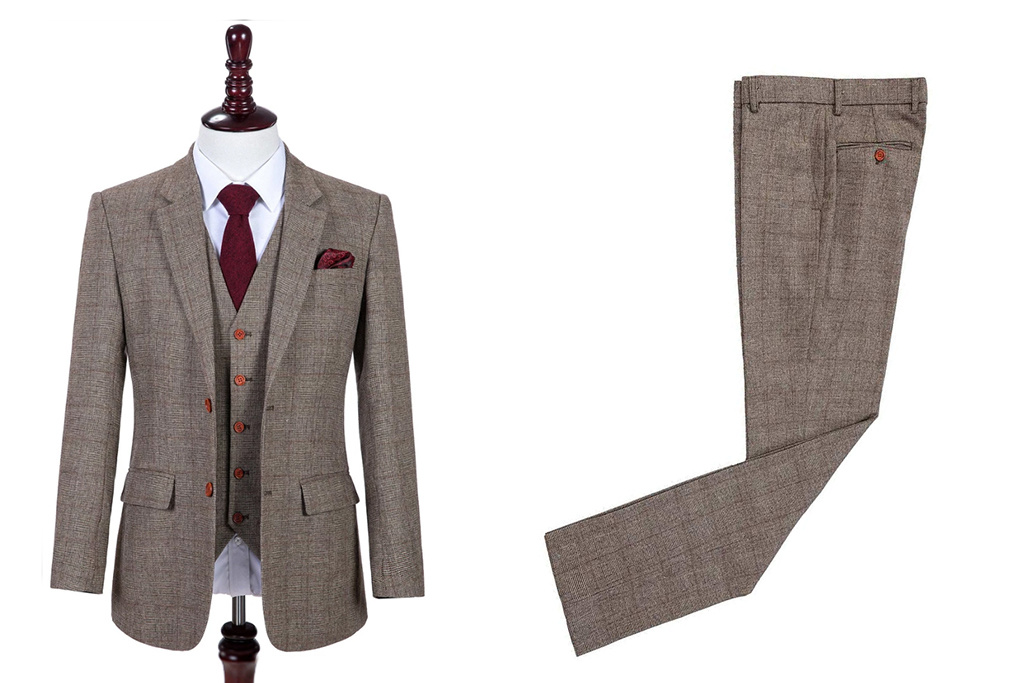 Shelby Brothers collection by Orange Fire 3-delig tweed pak Brown Beige Prince of Wales