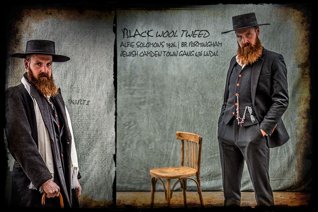 Shelby Brothers collection by Orange Fire 3-delig  pak Black Wool Tweed