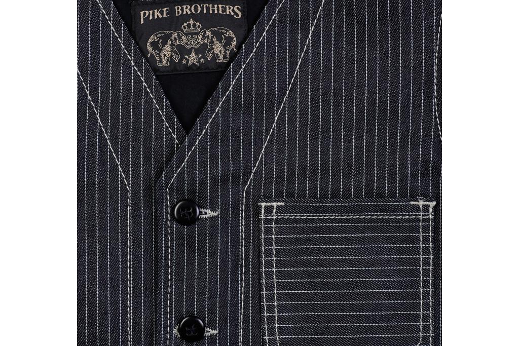Pike Brothers 1937 Roamer Vest  blue wabash 13 ounce denim