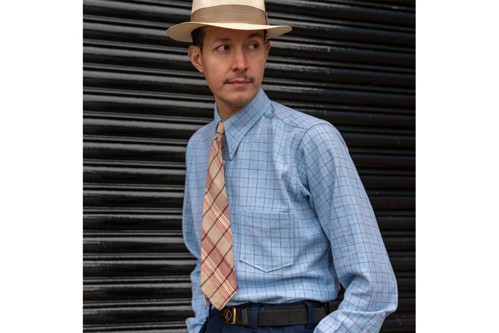Simon James Cathcart Duck Egg Tattersall shirt