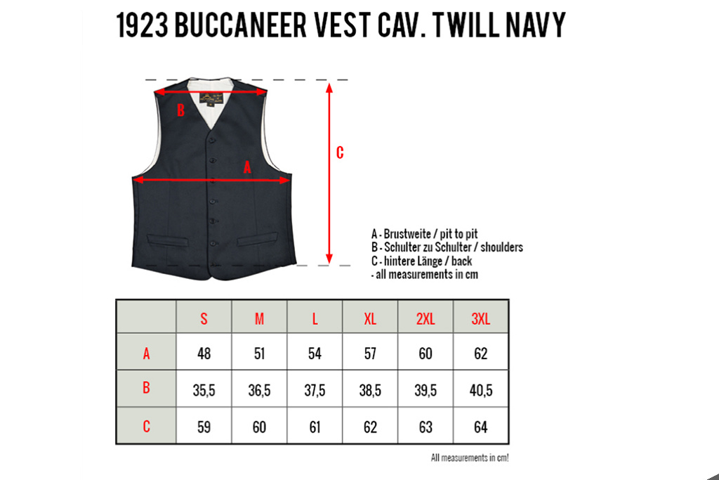 Pike Brothers 1923 Buccaneer Vest cavalry twill navy