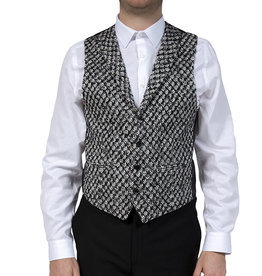 Urban Bozz Black & White Patterned Collared Tweed Waistcoat