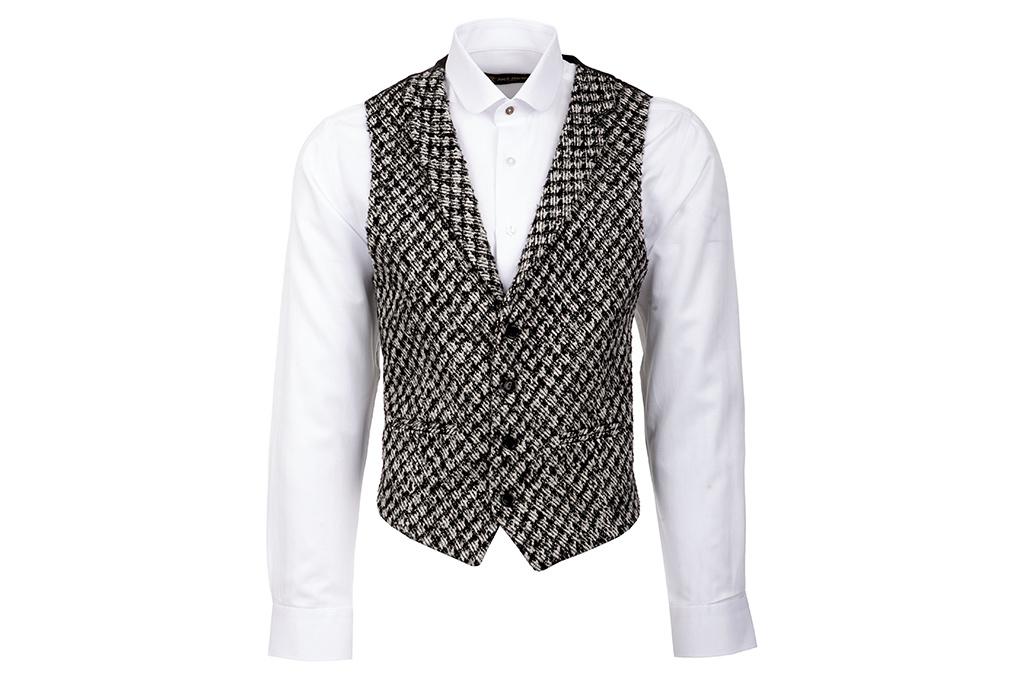 Urban Bozz Black & White Patterned Collared Tweed Waistcoat