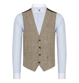Urban Bozz Brown & Cream Houndstooth Check Collared Wool Waistcoat