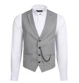 Urban Bozz Grey & Black Textured Collared Waistcoat