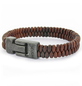 Josh Josh©  Vintage Ribbed Brown armband