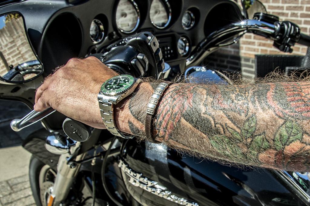 Josh Josh© armband Silver elements brown leather