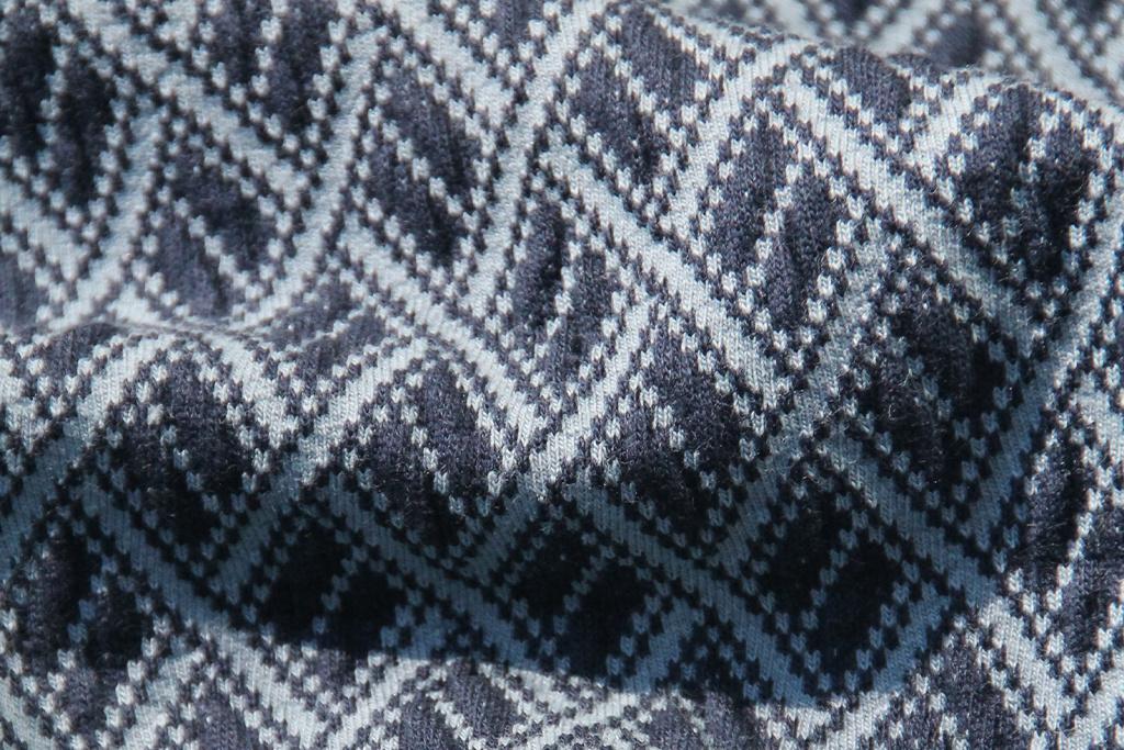 On The Sunny Side Retro Polo Dark blue jacquard knit