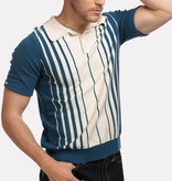 Collectif Pablo Blue Double Stripped Poloshirt