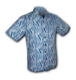 Chenaski Hawaii Shirt Leaves Blue White