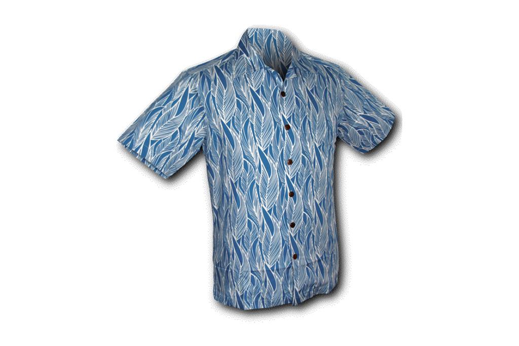 Chenaski Hawaii Shirt Leaves Blue White