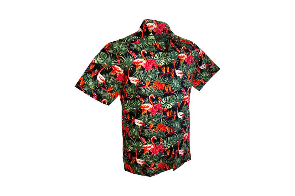 Chenaski Hawaii Shirt Flamingos in the Jungle