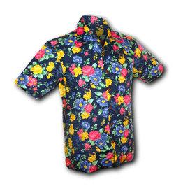 Chenaski Hawaii Shirt Super Bright Flowers Navy