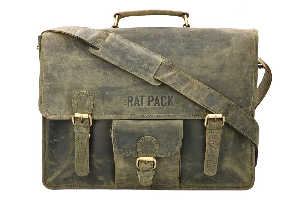 Rat Pack by Orange Fire Vigo vintage groene leren herentas