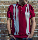 Relco London Retro Polo Burgundy White Knitted