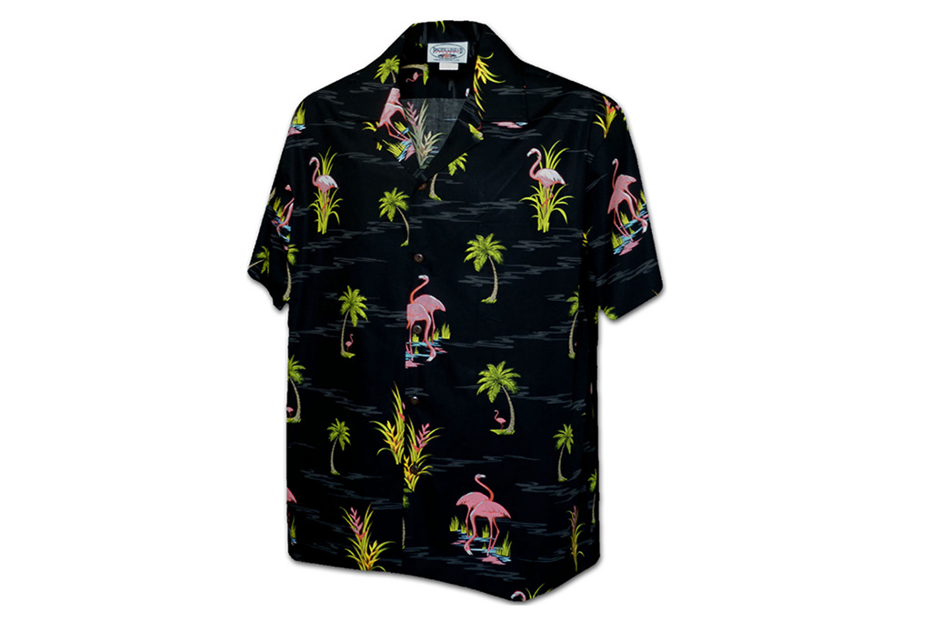 Pacific Legend Hawaii Shirt Black Flamingo
