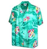 Pacific Legend Hawaii Shirt Mint Flowers