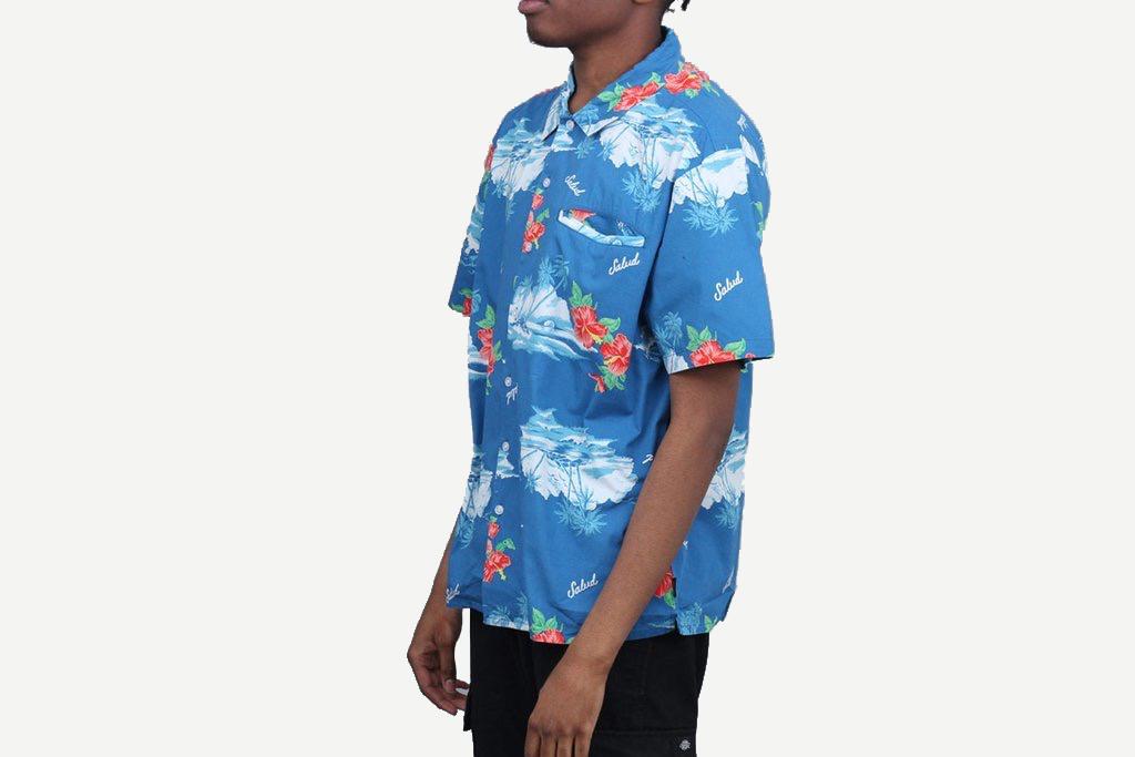Brixton Hawaii Shirt Blue Island