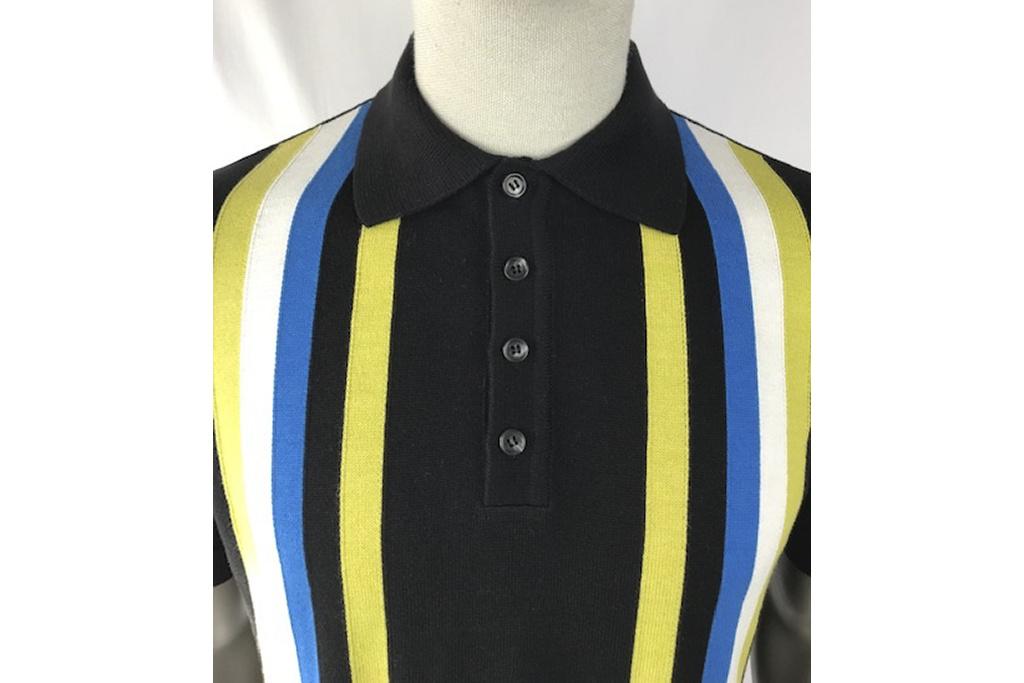 Trojan Retro Polo knit stripes on black
