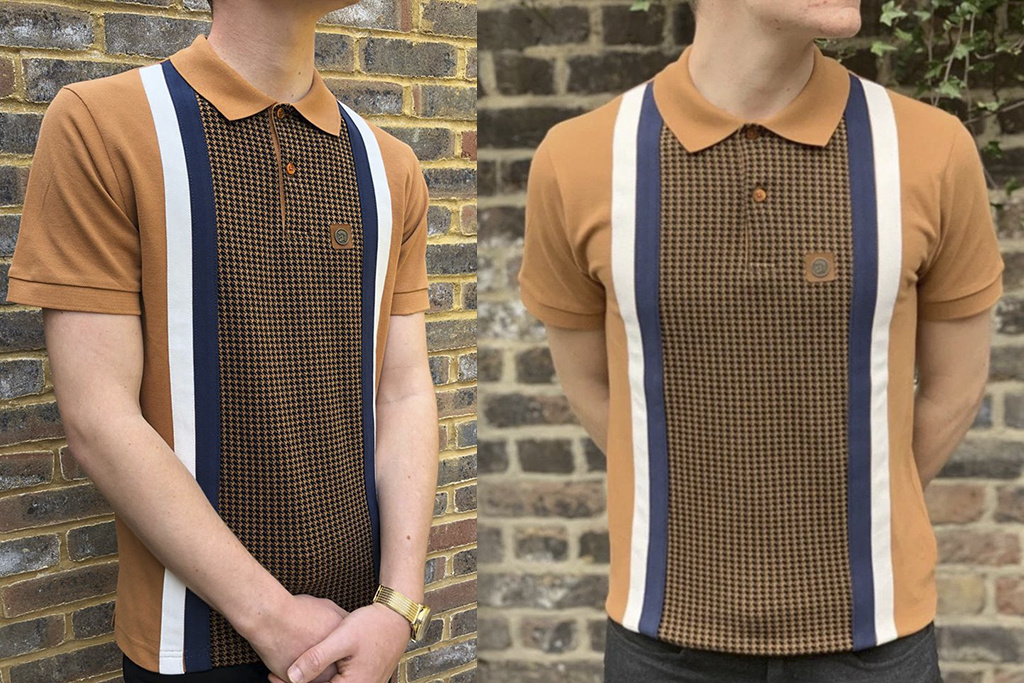 Trojan Retro polo Golden Tan Houndstooth panel