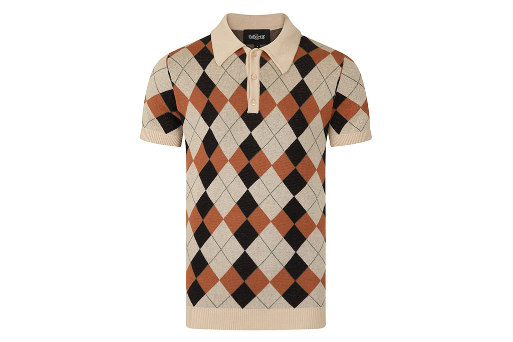 Collectif 50's Retro knitted Poloshirt Brown Harlequin