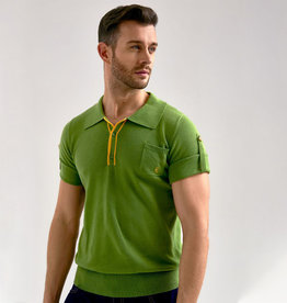 Collectif Retro Polo Jorge  Green Knitted