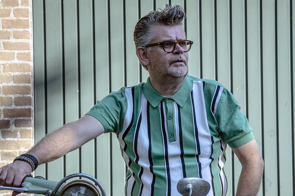 Relco London Retro Polo  Pistachio  stripe Knitted