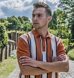Relco London Retro Polo  Orange  stripe Knitted