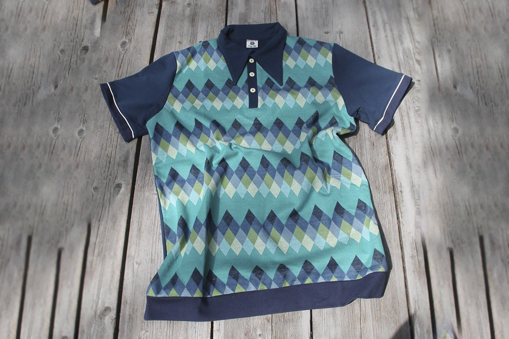 On The Sunny Side Retro Polo Harlequin at Sea