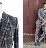 Shelby Brothers collection by Orange Fire 3-delig tweed pak Grey Crème Windowpane Plaid tweed