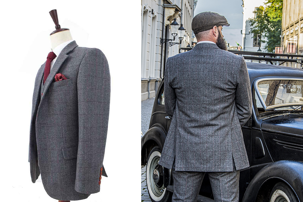 Shelby Brothers collection by Orange Fire 3-delig tweed pak Grey Herringbone Red Check Tweed
