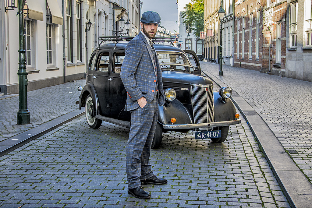 Shelby Brothers collection by Orange Fire 3-delig tweed pak Grey Blue Overcheck Twill Tweed