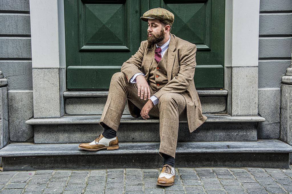 Shelby Brothers collection by Orange Fire 3-delig tweed pak Brown Herringbone tweed