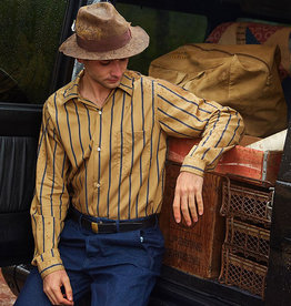 Sunset Boulevard Clothing 1953 Camellia Oil Cotton Striped Work Shirt Khaki
