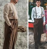 Revival 1942 Crosshatch Dark Brown Notch Back Trousers