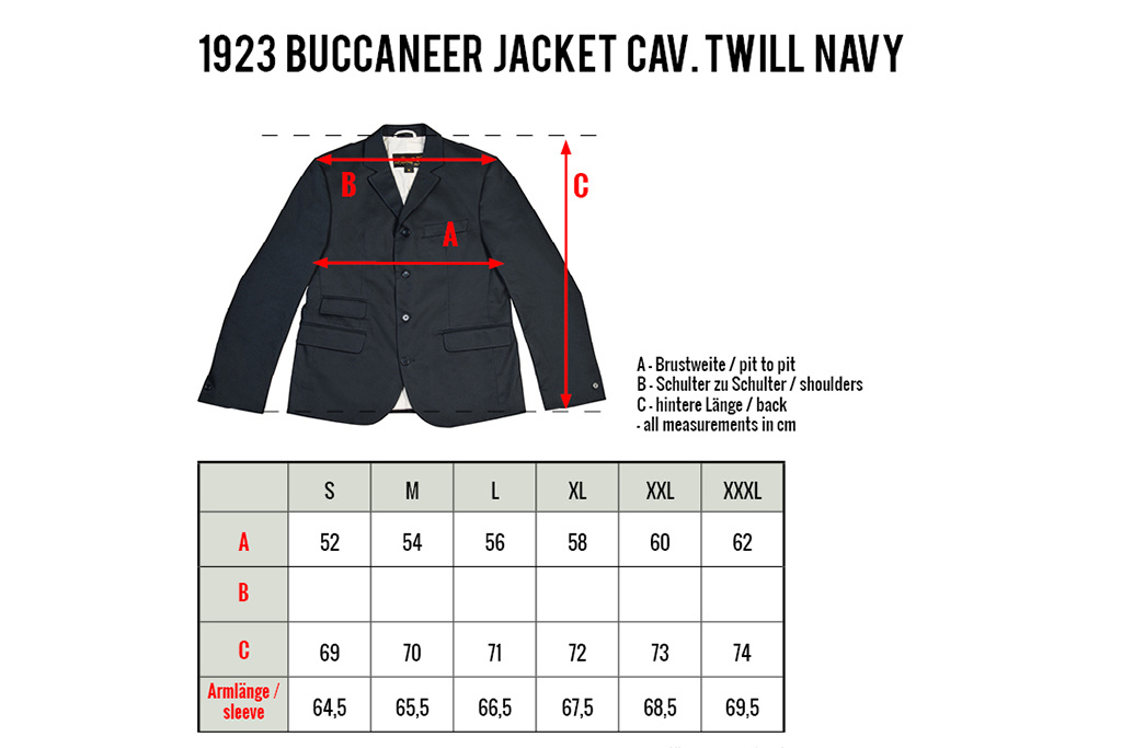 Pike Brothers 1923 Buccaneer Jacket cavalry  twill navy