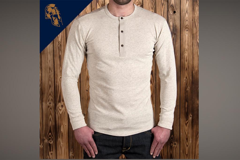 Pike Brothers 1927 Henley Shirt long sleeve ecru melange