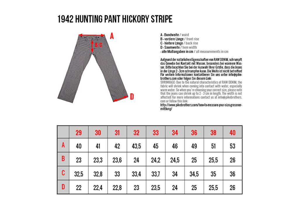 Pike Brothers 1942 Hunting Pant 12oz hickory stripe
