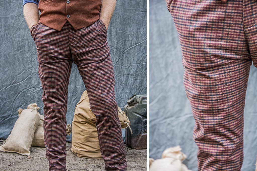 Ato Berlin 1949 Dogtooth Brown Trousers
