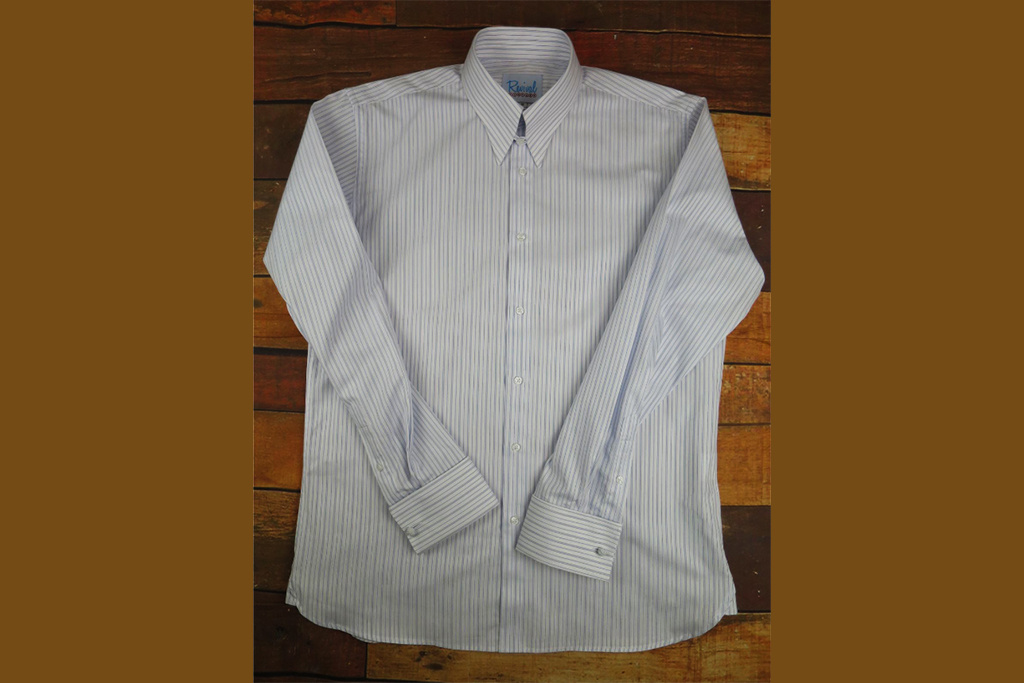 Revival Blue London Stripe 40s Spearpoint Tab Collar Shirt