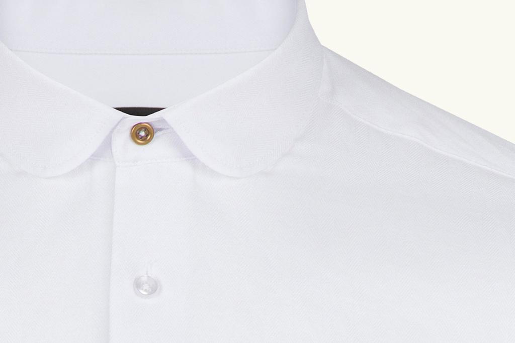 Jack Martin Beaumont penny collar wit overhemd met stud -knoop
