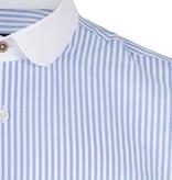 Jack Martin Bengal White Blue  Penny Collar overhemd met stud -knoop