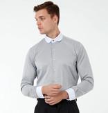 Jack Martin Ash-Grey Penny Collar overhemd met stud -knoop