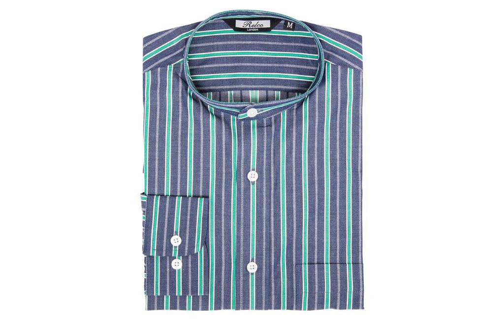 Relco London Blue Green Stripe Grandad Collar shirt