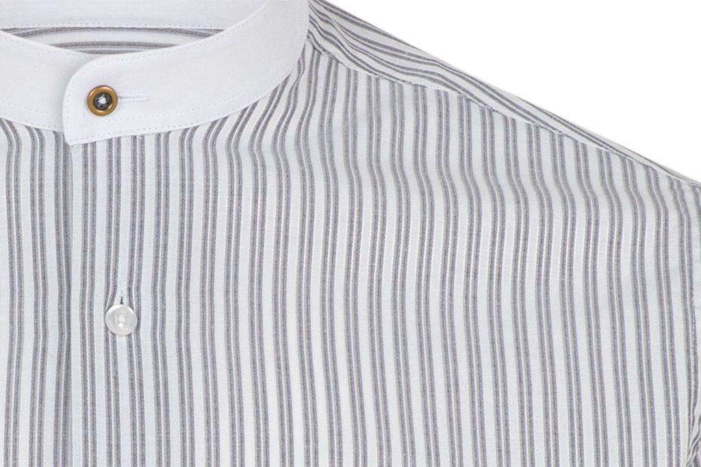 Jack Martin Grey Two Tone Grandad Collar shirt