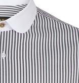 Jack Martin Zebra  White  Black Penny Collar overhemd met stud -knoop